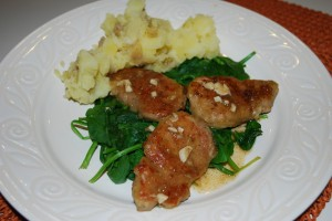 Pork Picatta with Spinach and Garlic Mashes Potatoes